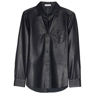 EQUIPMENT Brett Leather Shirt in Black